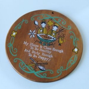 Vintage 50s/60s Wooden Kitschy-Kitchen Wall Plaque